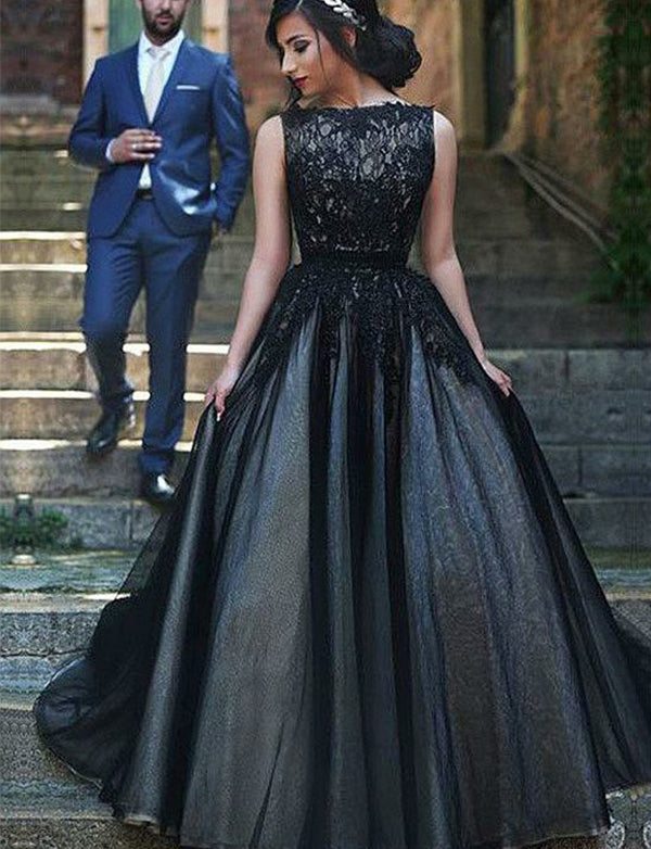 Modest Bateau Sleeveless Black Evening Dress with Appliques Long Prom Dress