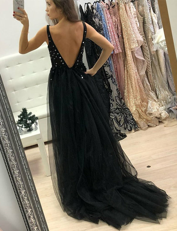 Chic Long V-Neck Backless Black Prom Dress with Split Beading Evening Dress - ericprom