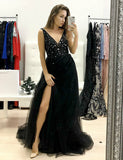 Chic Long V-Neck Backless Black Prom Dress with Split Beading Evening Dress