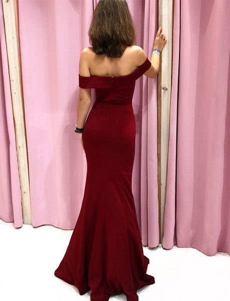 Off the Shoulder Mermaid Prom Dress with Short Sleeves Burgundy Evening Dress