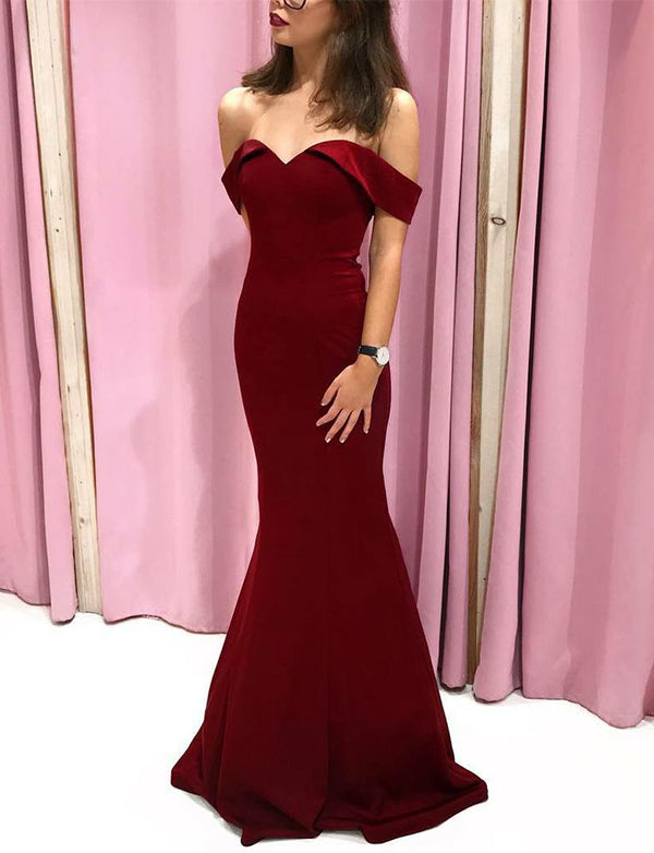 Off the Shoulder Mermaid Prom Dress with Short Sleeves Burgundy Evening Dress - ericprom