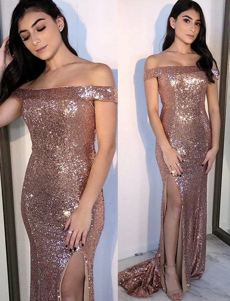 Off the Shoulder Mermaid Evening Dress with Split Rose Gold Sequin Prom Dress