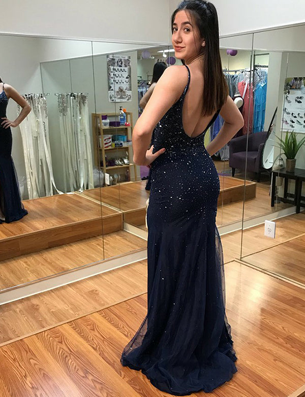 Spaghetti Straps Navy Blue Prom Dress with Split Beading Backless Evening Gown - ericprom