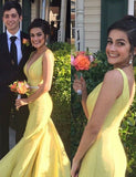 V-Neck Long Yellow Prom Dress with Beading Sleeveless Mermaid Evening Dress - ericprom