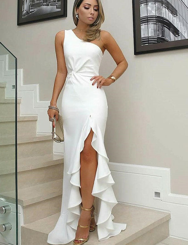 Sheath White Prom Dress with Split Ruffles One Shoulder Long Prom Gown