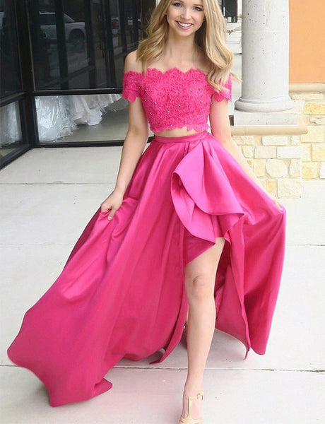 Two Piece Prom Dress with Sleeves Lace Beading Off the Shoulder Prom Gown