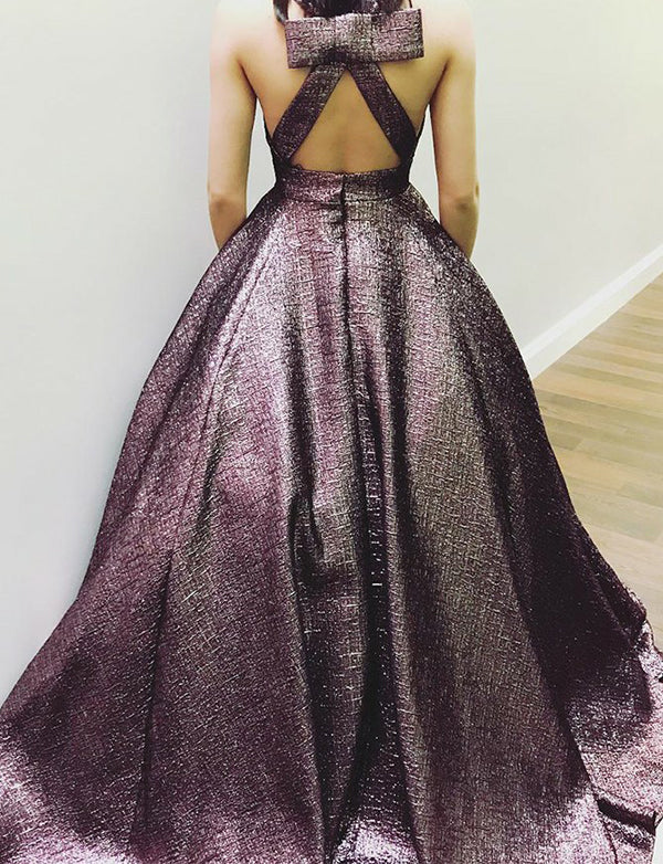 Deep V-Neck Open Back Prom Dress with Pockets Sleeveless Brown Evening Gown - ericprom