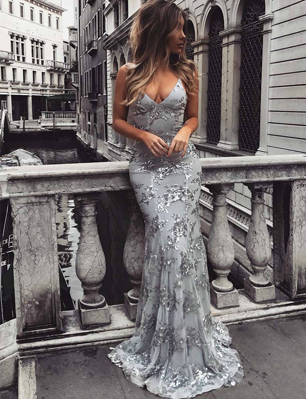 Mermaid Spaghetti Straps Sleeveless Prom Dress Grey Evening Dress with Sequins - ericprom