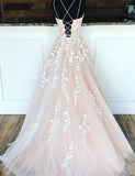 Ball Gown Light Champagne Lace Prom Dress - ericprom