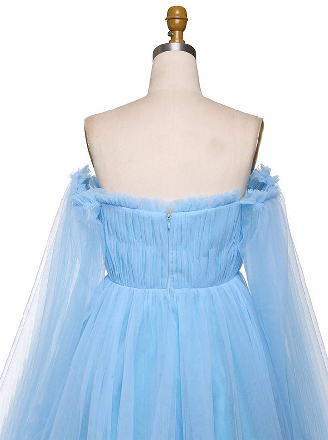A-Line Off Shoulder Long Sleeves Prom Dress Blue Pleated Tulle Evening Dress