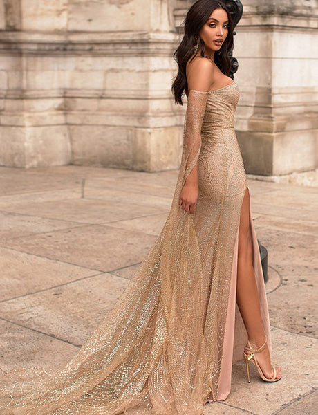 Sheath Off the Shoulder Long Sleeves Sweep Train Split Champagne Prom Dress