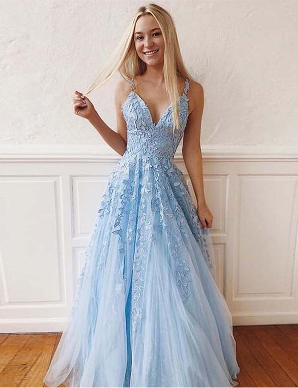 A-line V-neck Sleeveless Tulle Prom Dress with Appliques - ericprom