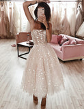 A Line Tea Length Pink Dress with Sequins