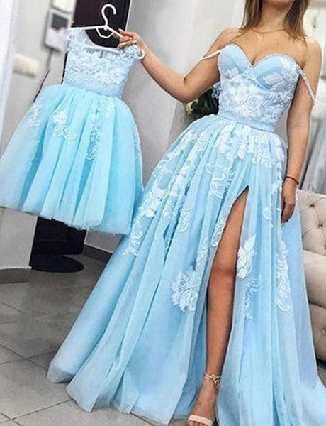 A-Line Spaghetti Straps Sweep Train Light Blue Appliqued Split Prom Dress