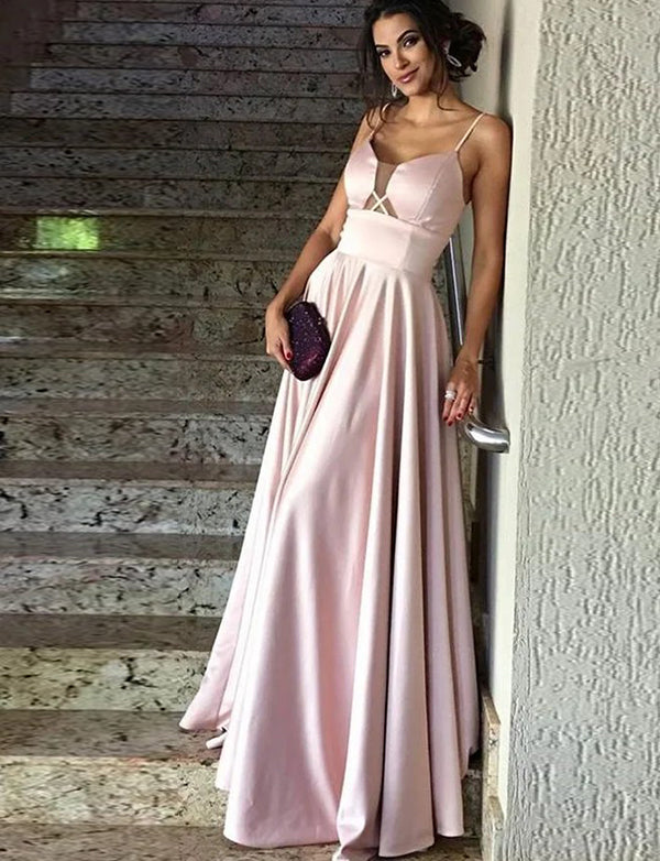 A-Line Spaghetti Straps Floor Length Pink Satin Prom Dress - ericprom