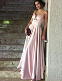 A-Line Spaghetti Straps Floor Length Pink Satin Prom Dress