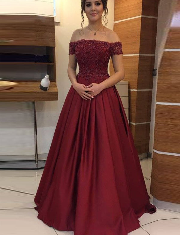 A-Line Off the Shoulder Sweep Train Burgundy Prom Dress with Appliques - ericprom