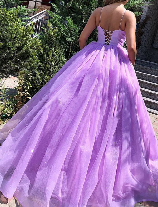A-Line Spaghetti Straps Lace Up Sweep Train Lilac Pleated Prom Dress - ericprom