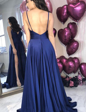 A-Line Spaghetti Straps Backless Dark Blue Long Prom Dress with Pockets Split