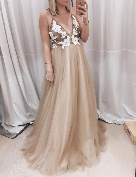 A-Line Spaghetti Straps Sweep Train Light Champagne Appliqued Prom Dress