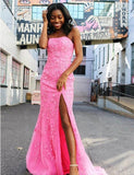 Mermaid Strapless Split Prom Evening Dress with Appliques Sweep Train - ericprom