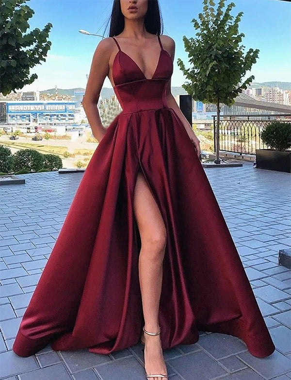 A Line V-Neck Burgundy Prom Dress With Legsplit - ericprom