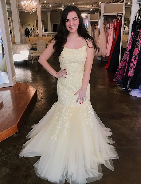 Mermaid Spaghetti Straps Yellow Prom Dress with Appliques - ericprom