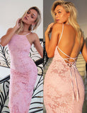 Sexy Spaghetti Straps Backless Pink Sleeveless Long Lace Mermaid Prom Dress - ericprom