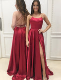 Sexy A Line Spaghetti Straps Backless Satin Long  Red Prom Dress with Split - ericprom