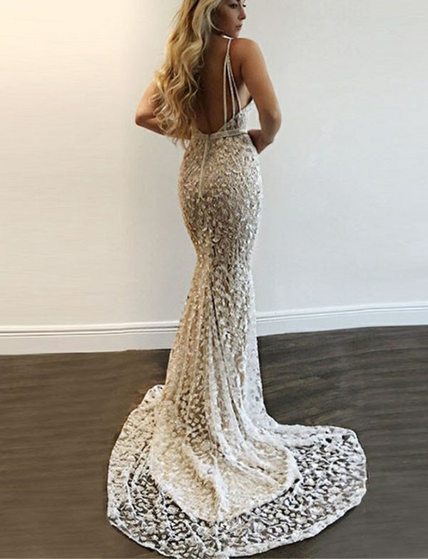 Amazing Mermaid Backless Long Silver Prom Dress with Sequin Evening Dress - ericprom