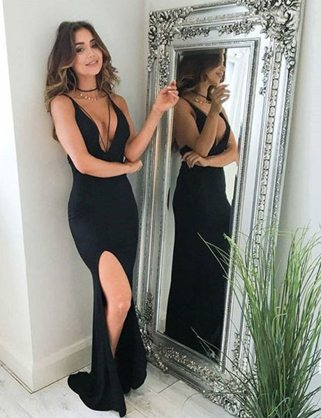 Sexy Spaghetti Straps Sleeveless Backless Column Long Black Prom Dress with Split