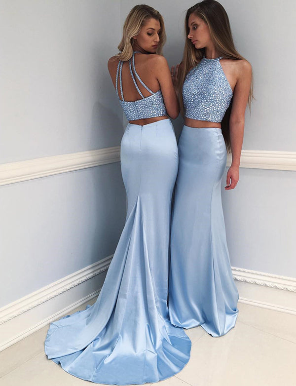 Two Piece Mermaid Jewel Sweep Train Blue Satin Prom Evening Dress with Beading - ericprom