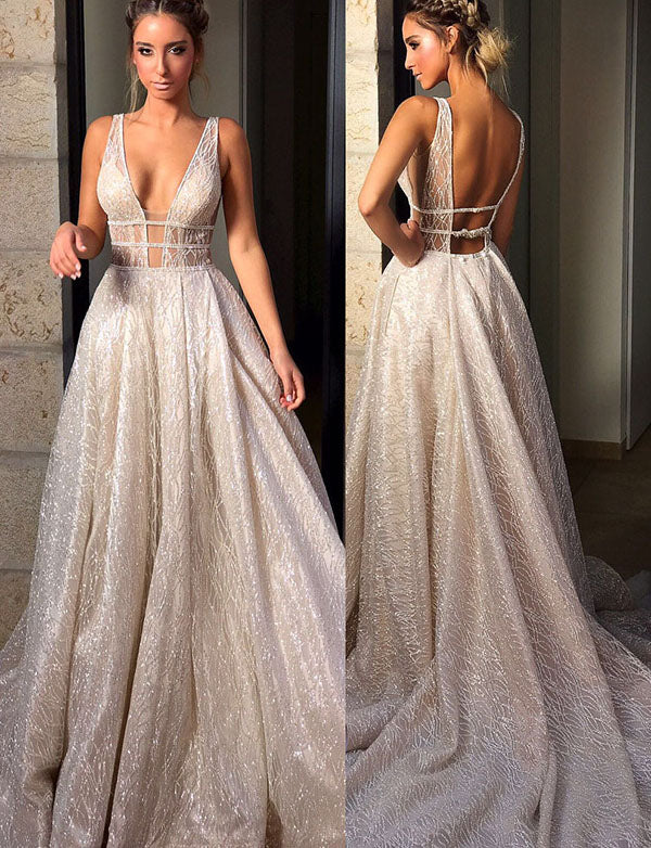 Glamorous Deep V Neck Backless Evening Dress Long White Prom Dress with Sequin - ericprom