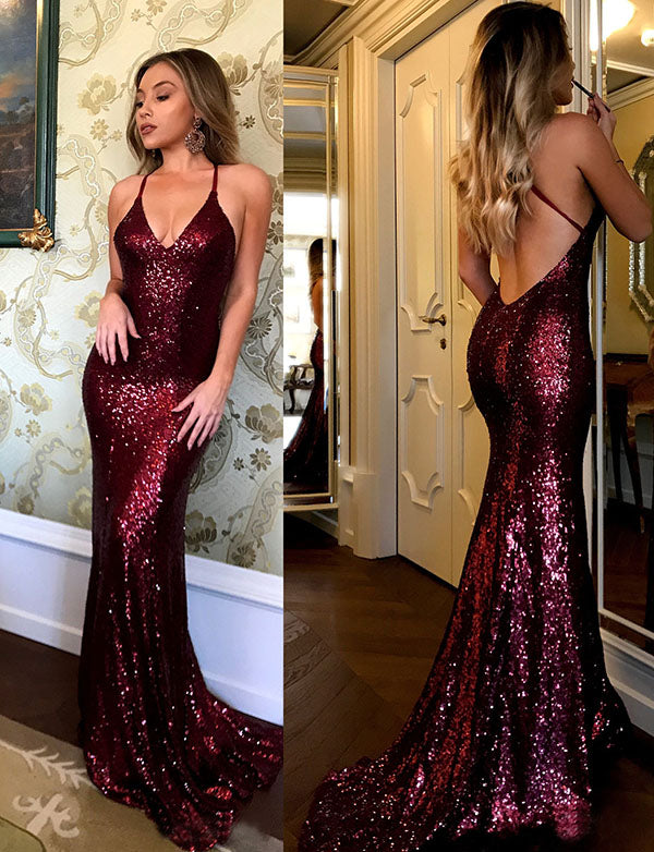 Hot Spaghetti Straps Sequin Mermaid Prom Dress Long Burgundy Evening Dress - ericprom