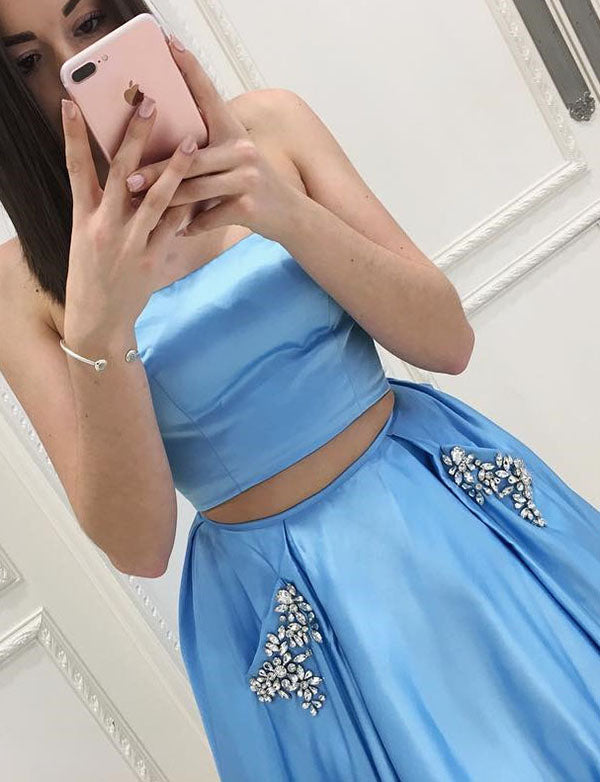 Classy Two Piece Strapless Long Satin Blue  Prom Dress with Pockets Beading - ericprom