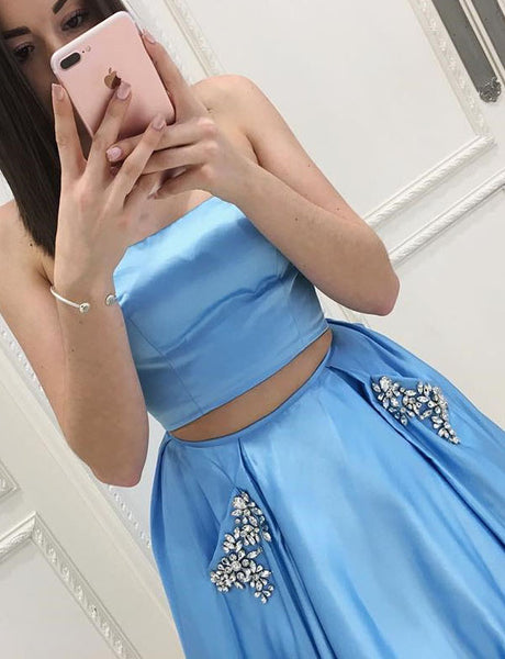 Classy Two Piece Strapless Long Satin Blue  Prom Dress with Pockets Beading