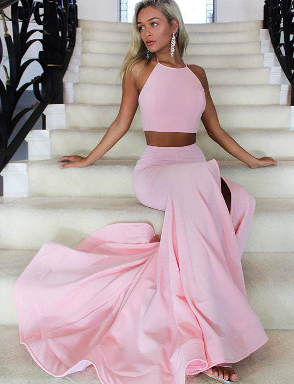 Stylish Two Piece Halter Backless Satin Sweep Train Pink Mermaid Prom Dress - ericprom