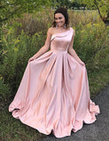 Fashion A Line One Shoulder Satin Long Evening Gown Pink Prom Dress - ericprom