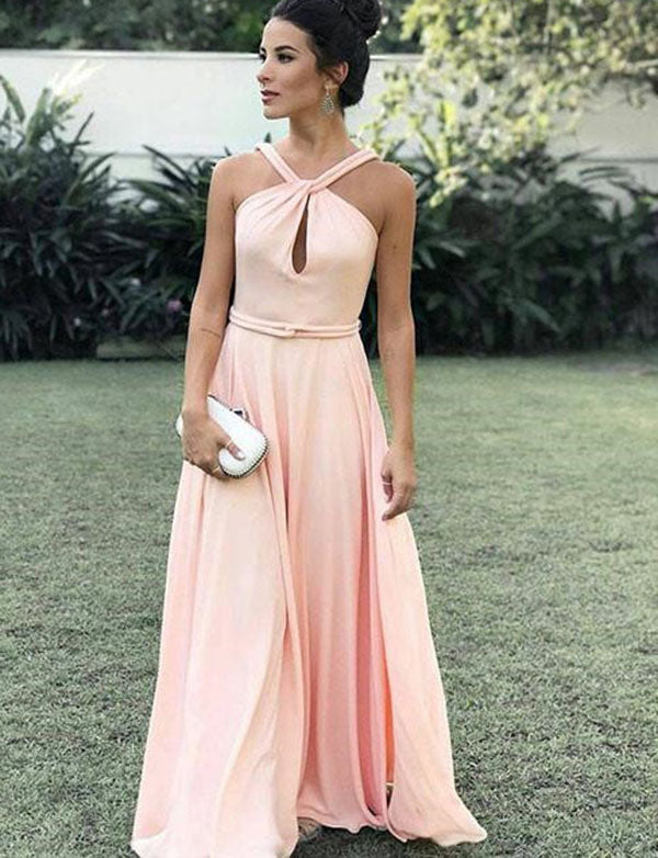 Simple Halter Chiffon A Line Floor Length Sleeveless Pink Prom Dress with Keyhole - ericprom