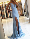 Simple Mermaid Light Blue Prom Dress with Split