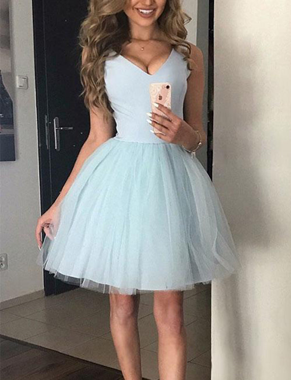 Simple V Neck Sleeveless A Line Blue Homecoming Dress Short Cocktail Dress - ericprom