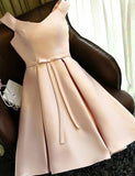 Simple V Neck Champagne Cocktail Dress with Bowknot Short Cocktail Dress - ericprom