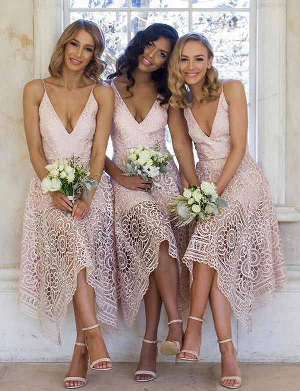 Beauty A Line Spaghetti Straps Sleeveless Asymmetrical Short Lace Bridesmaid Dress - ericprom
