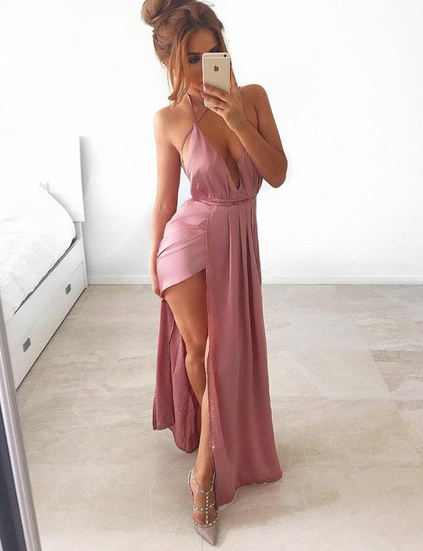Simple Halter Sleeveless Pink Backless Long Prom Dress with Split Front - ericprom