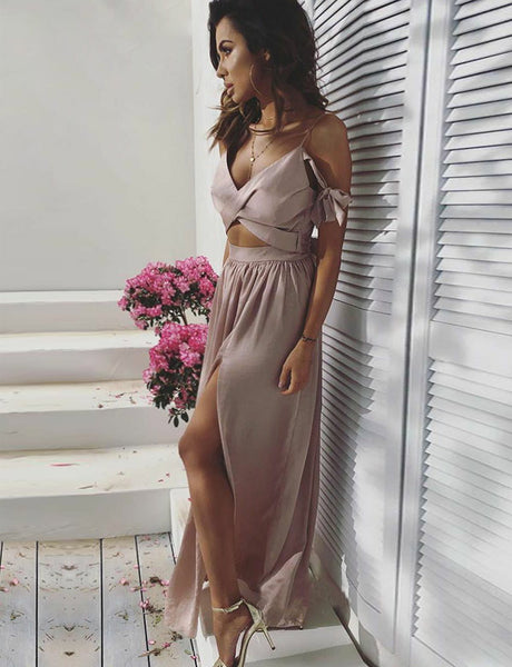 Hot Spaghetti Straps Prom Dresses with Split Champagne Homecoming Dress