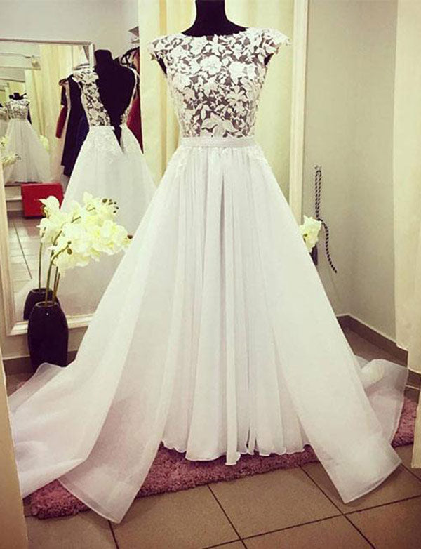 A Line Affordable Crew Open Back Wedding Dress with Sleeves Appliques - ericprom