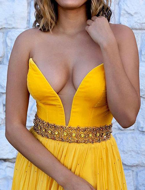 Sexy Deep V-Neck Sleeveless Long Chiffon Yellow Prom Dress with Beading Split - ericprom
