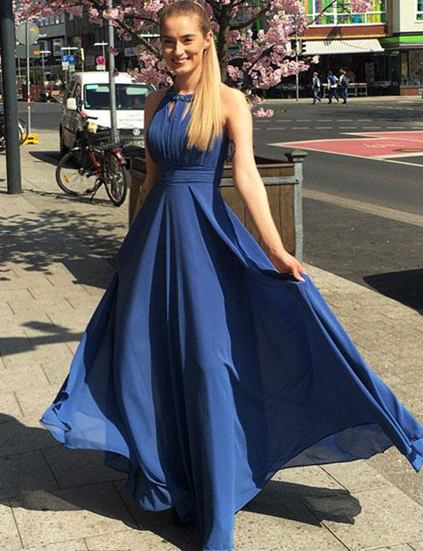 Affordable Floor-Length Chiffon Halter Blue Prom Dress with Beading - ericprom