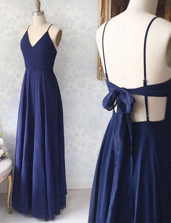 Sexy A-Line Spaghetti Straps Backless Chiffon Long Navy Blue Prom Dress - ericprom