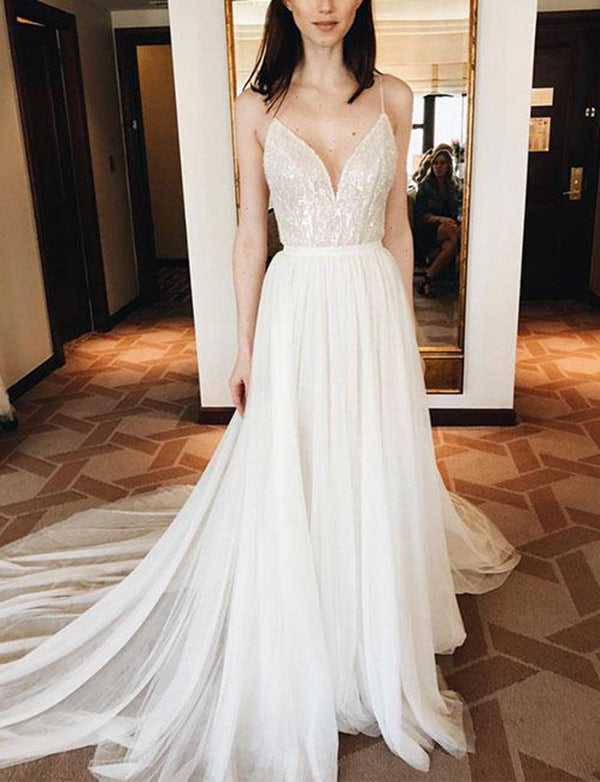 Spaghetti Straps White Court Train Chiffon Wedding Dress with Sequins - ericprom